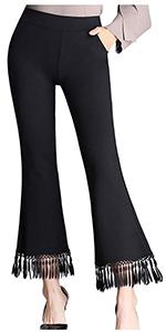 Women's High Waist Bell Bottom Pants Stretch Tassel Flare Cropped Pants