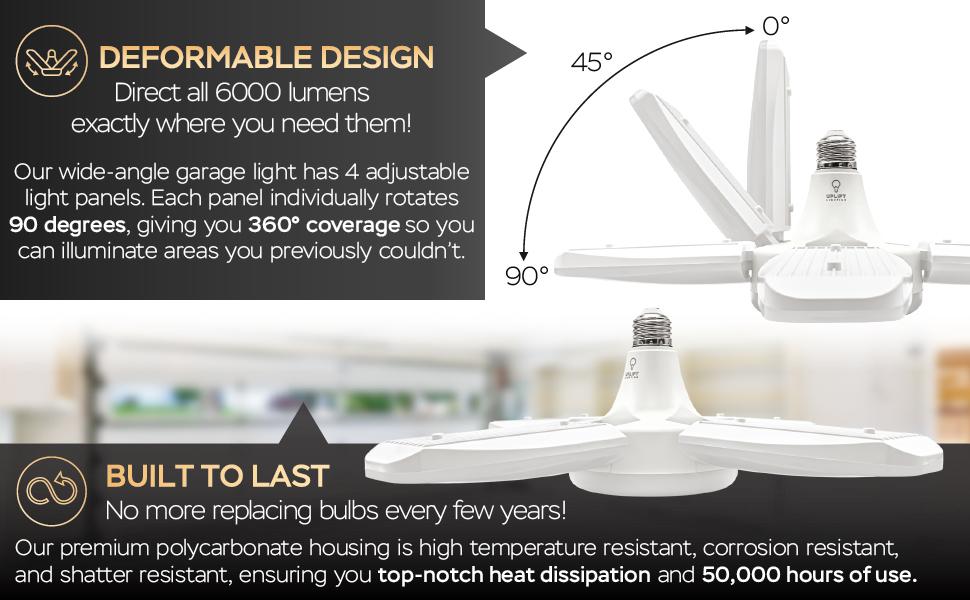 Uplift Lighting 6000 lúmenes de luz LED deformable diseño deformable y construido para durar