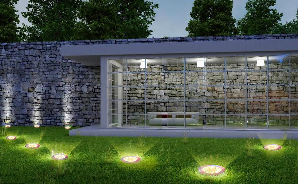 4Pcs Luces Solares para Exterior Jardin 8 leds,IP65 Focos led Exterior Solar, Acero Inoxidable Luce de Tierra Lámpara Suelo Iluminación para Yard Paisaje Driveway Lawn (blanco cálido): Amazon.es: Iluminación