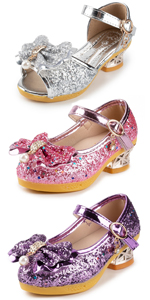 Girls Adorable Sparkle Mary Jane Princess Sequins Bow Wedding Party Dress Heel Shoes (Toddler)