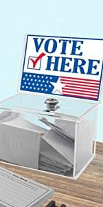 Marketing Holders Clear Locking Ballot Box with Header for 6 x 4