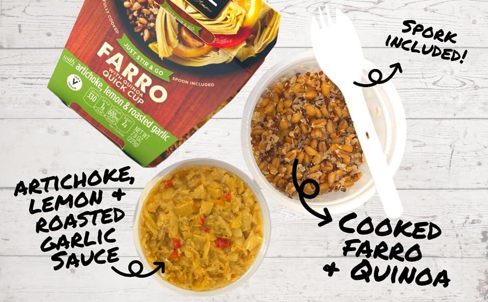 farro quinoa quick meal quinoa artichoke lemon roasted garlic spork spoon included protein fiber