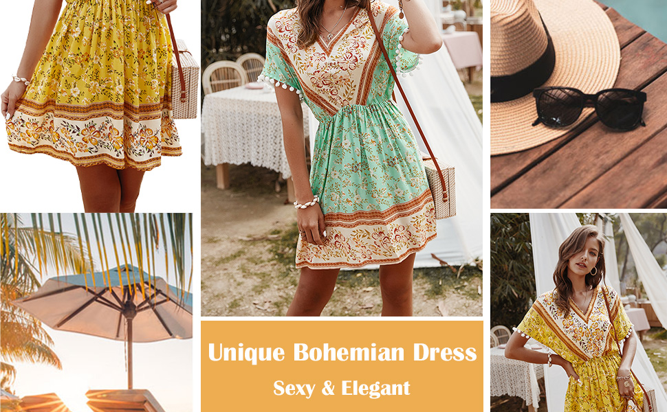Women's Vintage Bohemian Midi Dresses