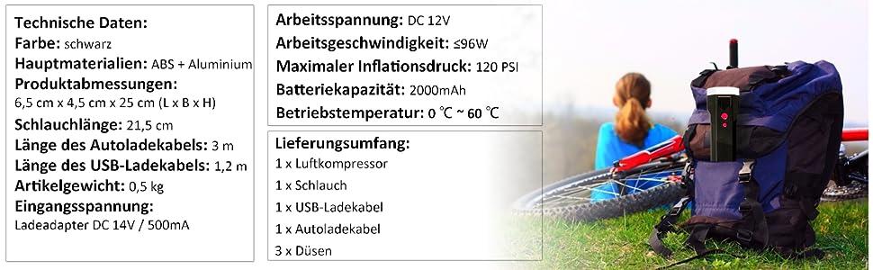 Costway 12v Luftkompressor Elektrische Luftpumpe Reifenkompressor Mit Schlauch Lcd Anzeige Led Licht Auto Luftpumpe Mit 2000mah Akku Ideal Für Autos Motorräder Fußbälle Schwarz Baumarkt