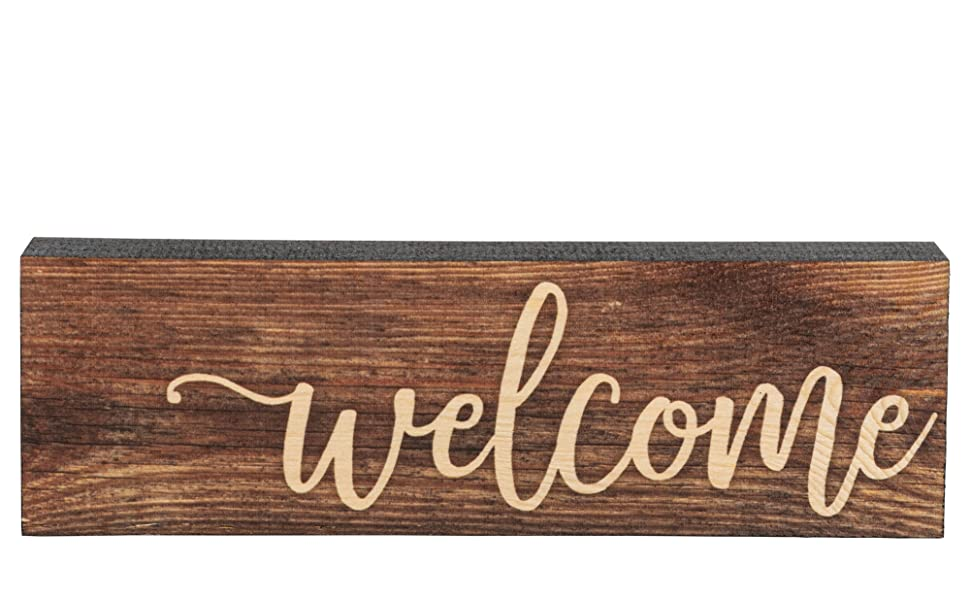 P GRAHAM DUNN Welcome Home Brown 6 x 2.5 Pine Wood Tabletop Stick Sign