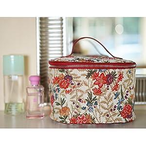 flower meadow, vanity bag, toiletry bag, makeup bag, floral bag, signare, tapestry, tapestry bag