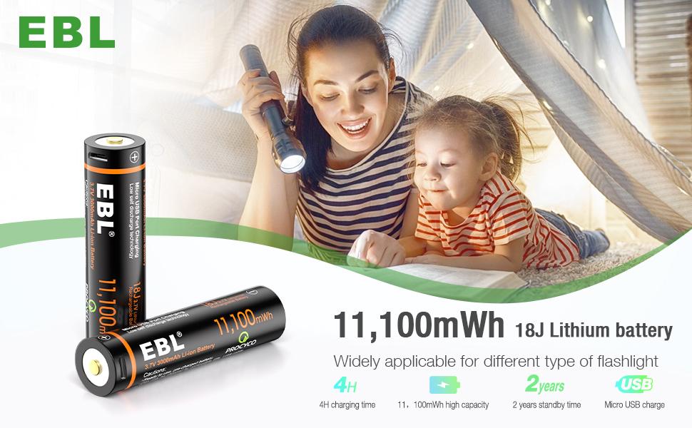 3.7V USB rechargeable batteries