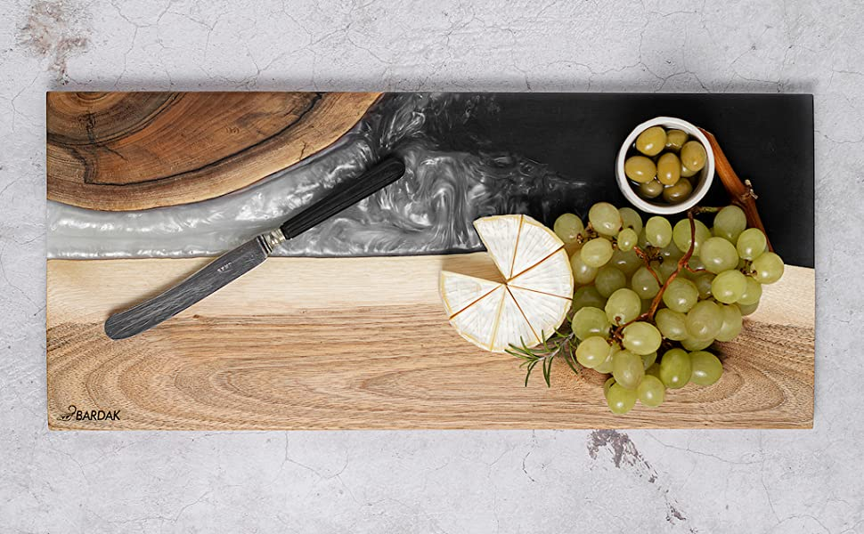 BARDAK cheese board black and white, knife, cheese grapes and olives on top