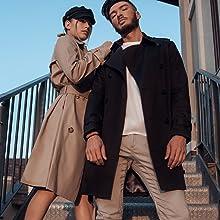 DASTI trench coats for men windbreakers black jacket abrigo para hombre long sleeve corporative coat
