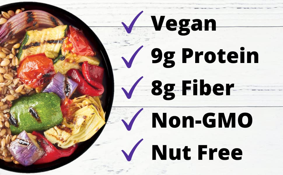 plant-based nut-free grilled vegetables farro quinoa quick meal amino acids complete protein