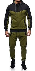 Men Casual Color Block Two Pieces Jogging Suit