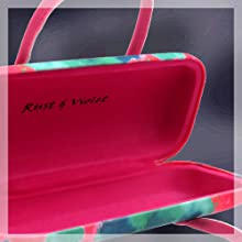 yellow tulip hard eyeglass case with handles women glasses case magnetic closer girls glasses case