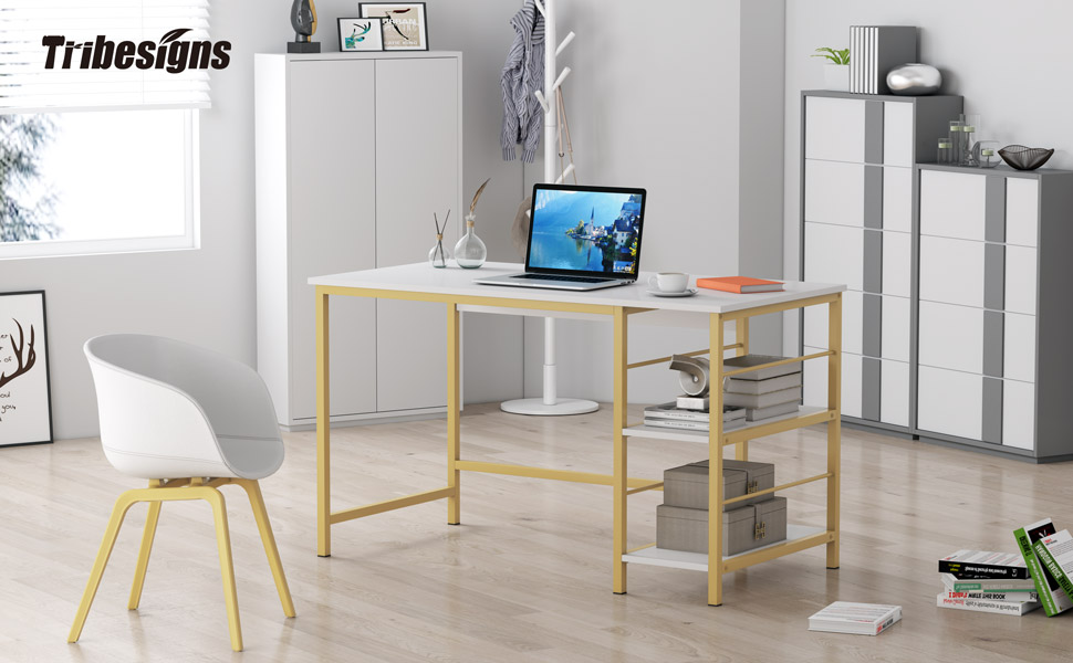 Computer-Desk for Small Spaces, Modern Writing Study Desk, Industrial Computer Workstation with Meta