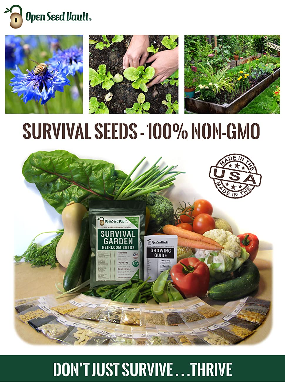 vegetable garden heirloom seed organic non gmo pea tomato cucumber squash open seed vault