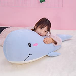 Blue 27.6 inchs // 70cm HongMall Soft Plush Whale Animal Pillows Friends Sofa Chair Kids and Christmas Gifts for Girls Big Hugging Stuffed Doll Fish Toys