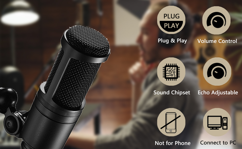 2  【2020 Upgraded】 USB Condenser Microphone for Computer, Great for Gaming, Podcast, LiveStreaming, YouTube Recording, Karaoke on Computer, Plug & Play, with Adjustable Metal Arm Stand, Ideal for Gift e63d7f95 5f0b 4271 b1e5 b4861775fb45