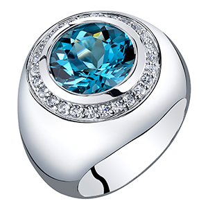Peora London Blue Topaz Signet Pinky Ring for Men in Sterling Silver 6 Carats total Sizes 8 to 13
