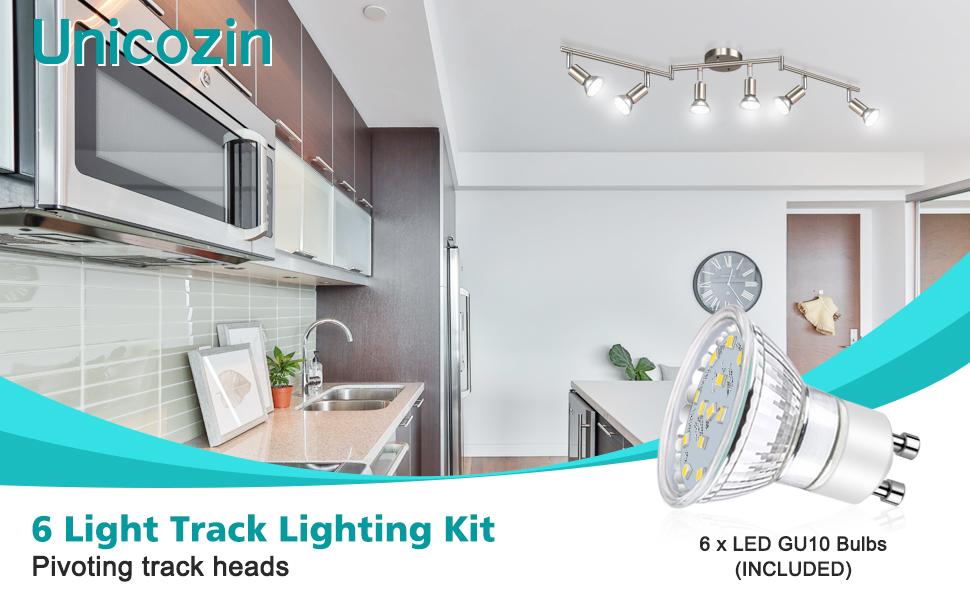 Unicozin LED 6 Light Track Lighting Kit, Matt Nickel 6 Way Ceiling Spot Lighting