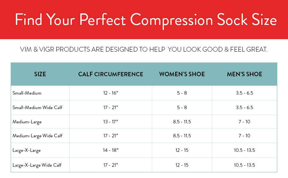 sizing vim amp; vigr vigor wide calf compression socks