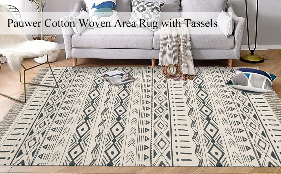 Large Cotton Area Rug  Machine Washable Hand Woven Cotton Rugs with Fringe Tassel Accent Rug
