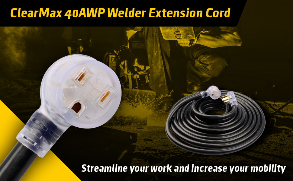 extension cord, heavy duty, waterproof, heavy machinery, lighted female plug, fire retardant, long