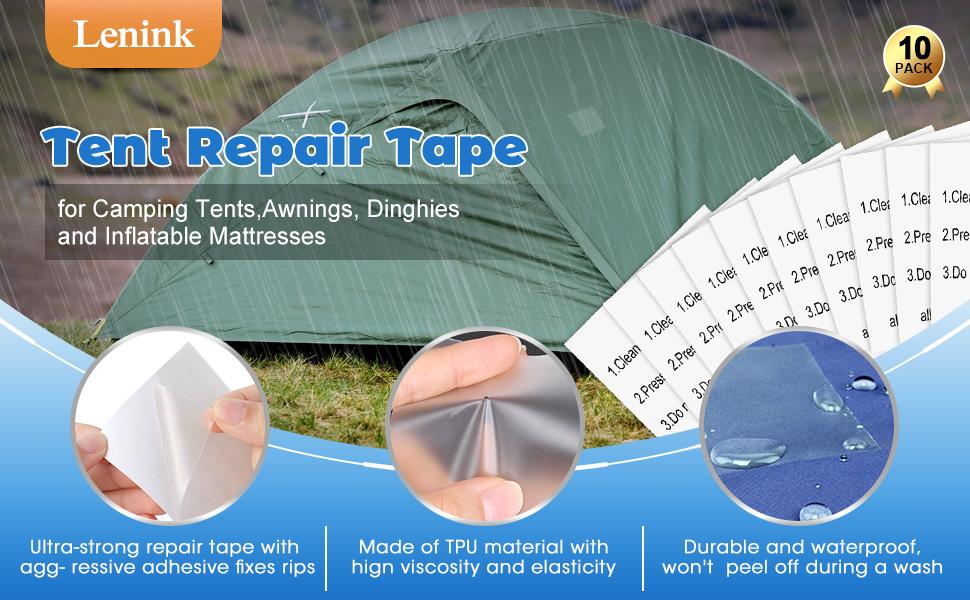 Air Mattresses and Vinyl Repair SKYHY224 Tent Repair Tape,5 Pcs Tent Tenacious Tape TPU Transparent Waterproof Patch for Camping Tent,Swimming Ring,Awnings