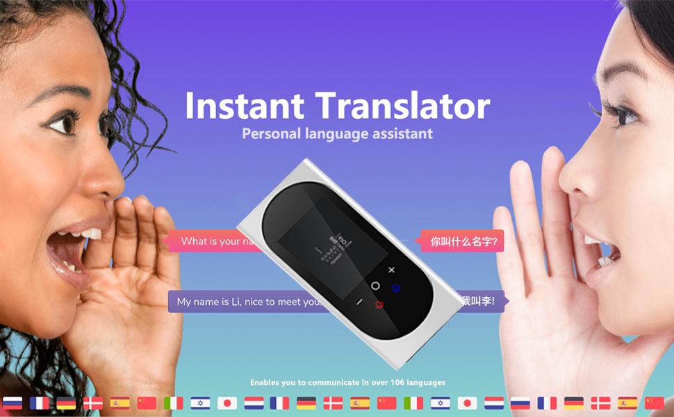 Duteri AI Voice Translator Device Support 106 Languages Two Way Instant Translat