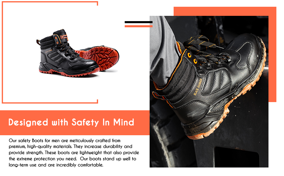 Mens safety boots with a nonslip. Composite toe cap with kevlar midsoles durable construction