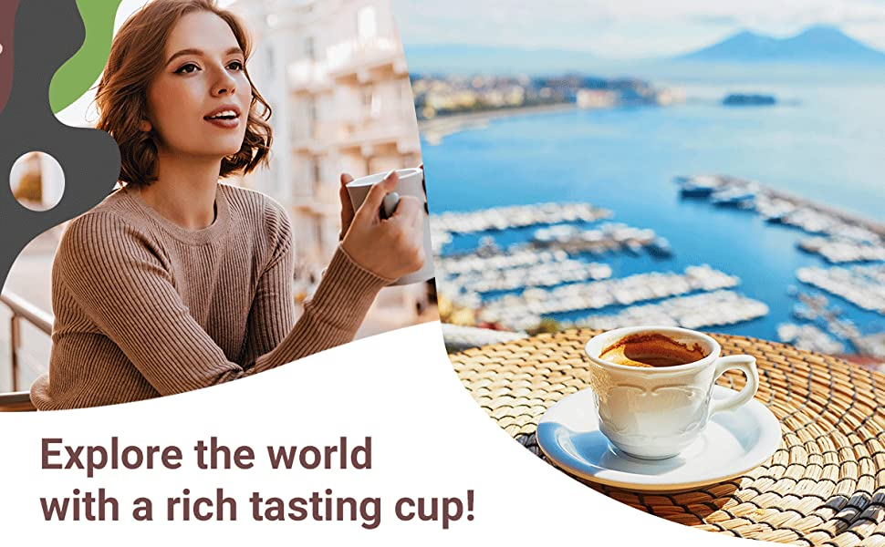woman having a cup of coffee at the coast