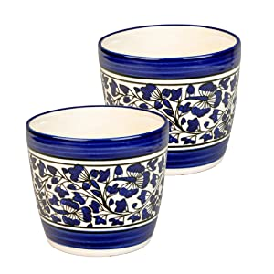 Ceramic Plant Bowls Container Planter Set of 2 Indoor Plants balcony home hand painted blue pottery