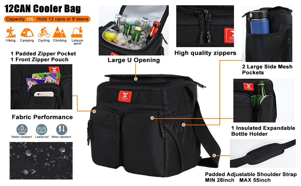 Black MIER Small Insulated Lunch Box Bag for Women Men Kids Leakproof School Work Lunch Cooler 12Can//10L