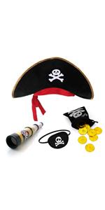 Sombrero pirata parche ojo telescopio, monedero, 20 monedas doradas