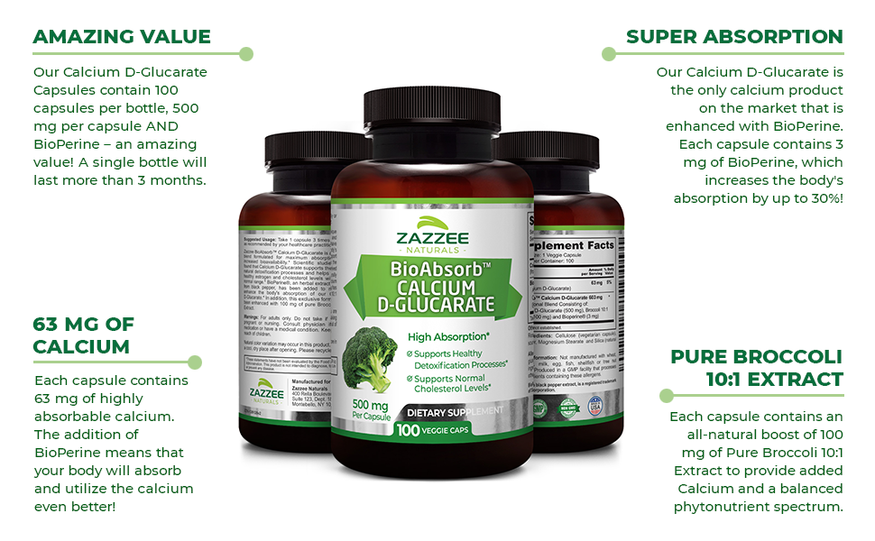 Amazing Value, 63 mg of Absorbable Calcium, Enhanced Aborption, Pure Broccoli 10:1 Extract