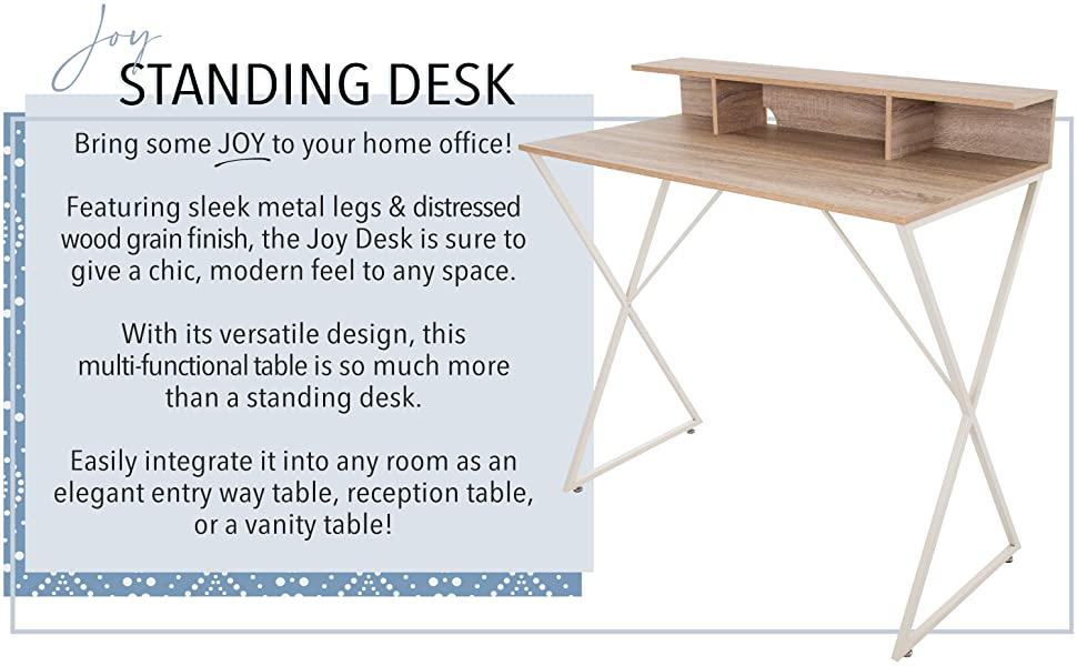 Joy Maple Standing Desk with Cubby Storage Monitor Riser, Modern Standing Workstation Pretty Table
