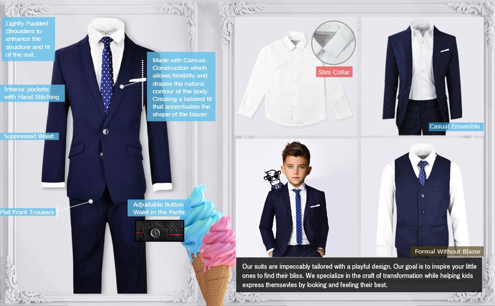 Black n Bianco Boys' Signature Slim Fit Suit