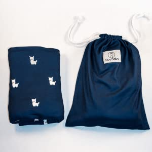 portable easy travel nursing car seat canopy cover navy color with llamas alpacas in a string bag