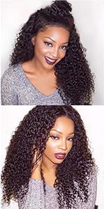 kinky curly human hair 4x4 lace closure wigs