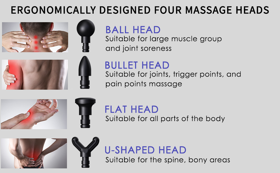Our massage gun has four different types of heads