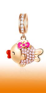 Rose Gold Sparkling Female Carp Pendant fits Pandora Moments Bracelet