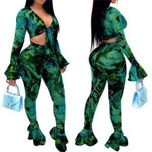 Green Two Piece Sheer Mesh Club Outfits