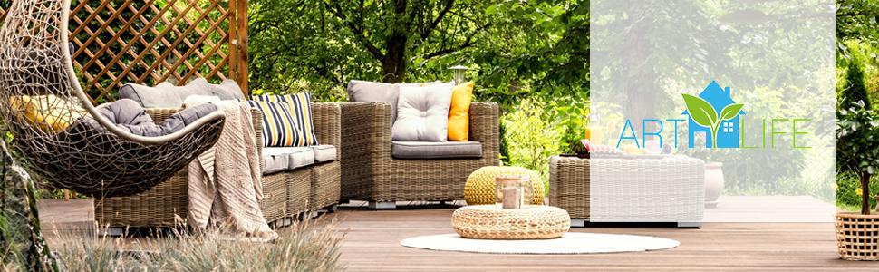 Gartengarnitur Nassau in grau-beige mit Bezügen in grau