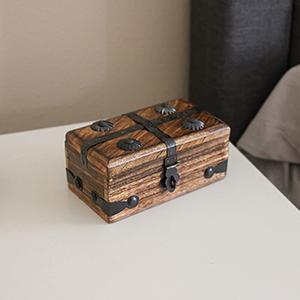Nautical Cove Deluxe Pirate Treasure Chest Keepsake Wooden Box Small