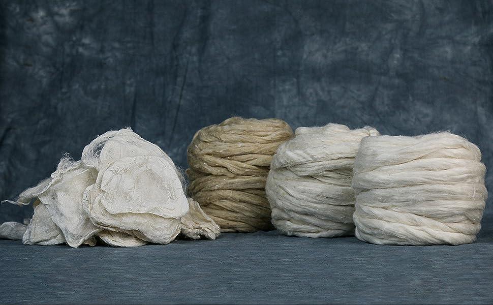 Eri Silk Cocoon Cakes | Eri Muga Silk roving | Eri Silk Roving | Eri Silk Tops/Roving Long Fiber