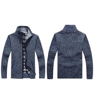 Men's Plus Knitted Fleece Cardigan Sweaters Classic Long Sleeve Full Zip up