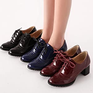 Vintage Womens Leather Lace Up Carved Flat Heel Brogue Oxford College Hot Shoes