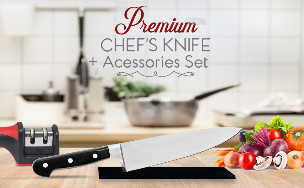 """Chefs knife 8"""" cutting kitchen sharpener guard set kit tools meat stainless steel durable master"""
