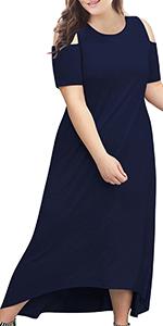 Nemidor Women's Cold Shoulder Plus Size Casual High-Low Hem Maxi Dress with Pocket