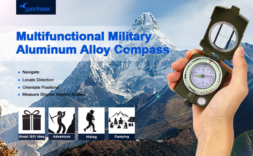 Military Lensatic Sighting Compass with Carrying Bag, Waterproof and Shakeproof