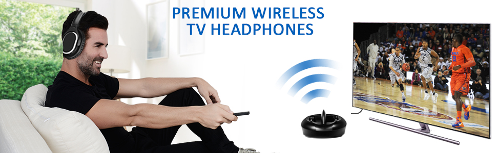Wireless TV Headphones with RF Transmitter Charging Dock for TV smart phone, tablet, laptop, or PC
