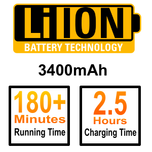 lithium batter 3400 mAh long lasting 3 hour running time fast charging wireless hair clipper